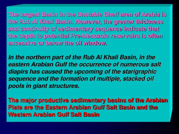 The largest Basin in the Unstable Shelf area of Arabia is the Rub Al Khali Basin. However, the greater thickness and continuity of sedimentary sequence indicate that the depth to potential Pre-Mesozoic reservoirs is often excessive or below the oil window.
