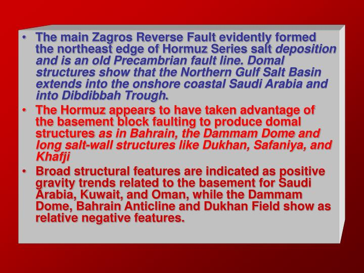 The main Zagros Reverse Fault evidently formed the northeast edge of Hormuz Series salt