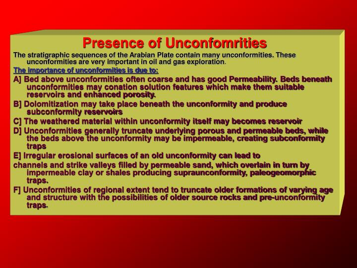Presence of Unconfomrities