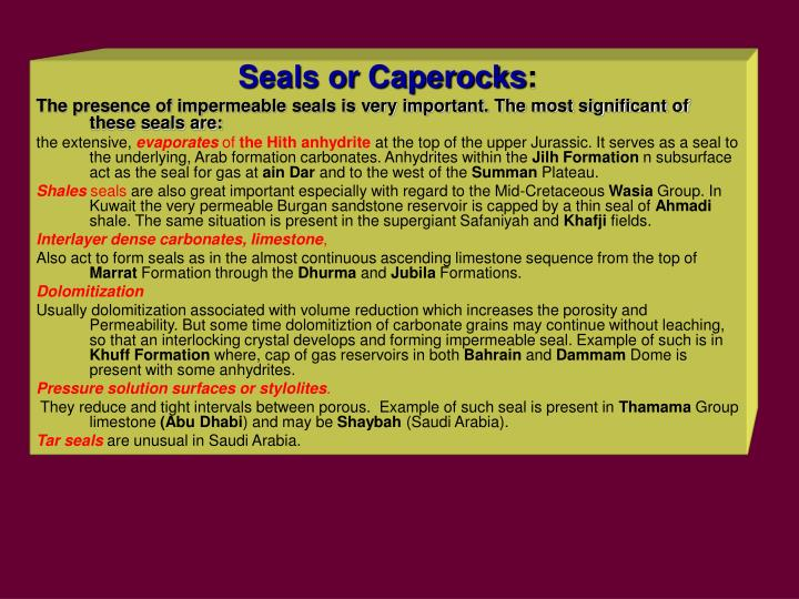 Seals or Caperocks