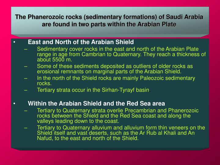 The Phanerozoic rocks (sedimentary formations) of Saudi Arabia are found in two parts within the Arabian Plate