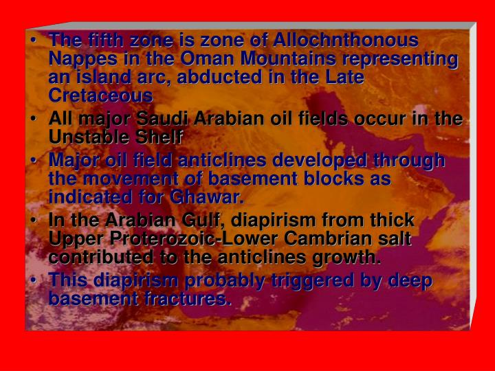 The fifth zone is zone of Allochnthonous Nappes in the Oman Mountains representing an island arc, abducted in the Late Cretaceous