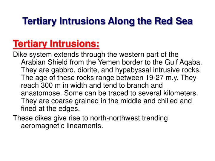 Tertiary Intrusions Along the Red