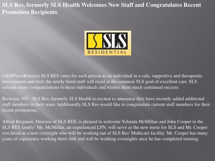 SLS Res, formerly SLS Health Welcomes New Staff and Congratulates Recent Promotion Recipients