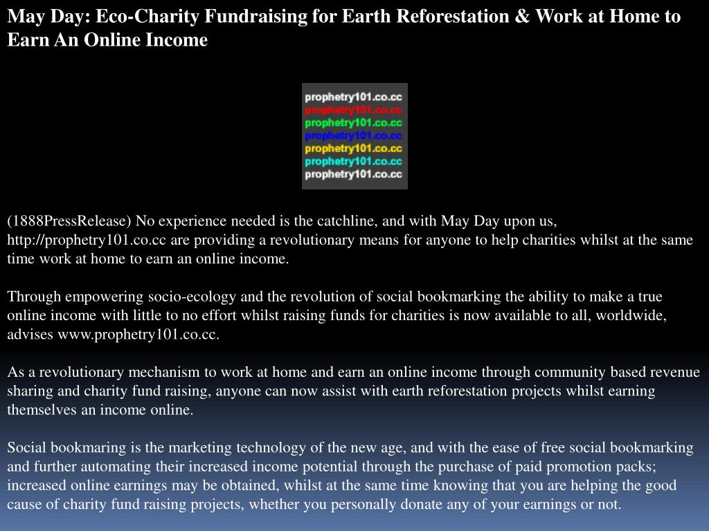 May Day: Eco-Charity Fundraising for Earth Reforestation & Work at Home to Earn An Online Income