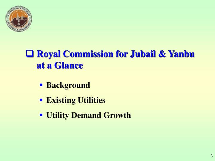 Royal Commission for Jubail & Yanbu at a Glance