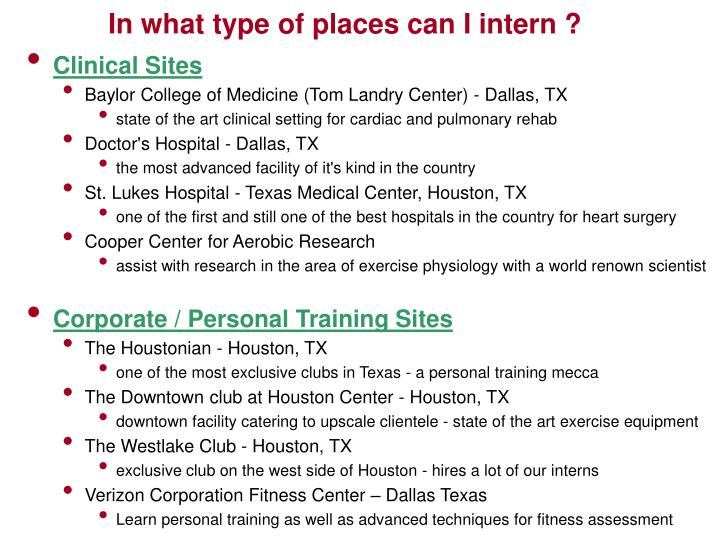 In what type of places can I intern ?