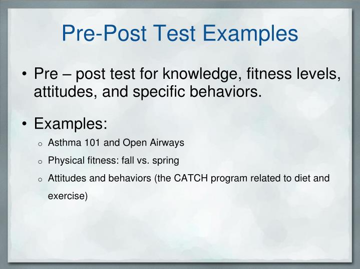 Pre-Post Test Examples