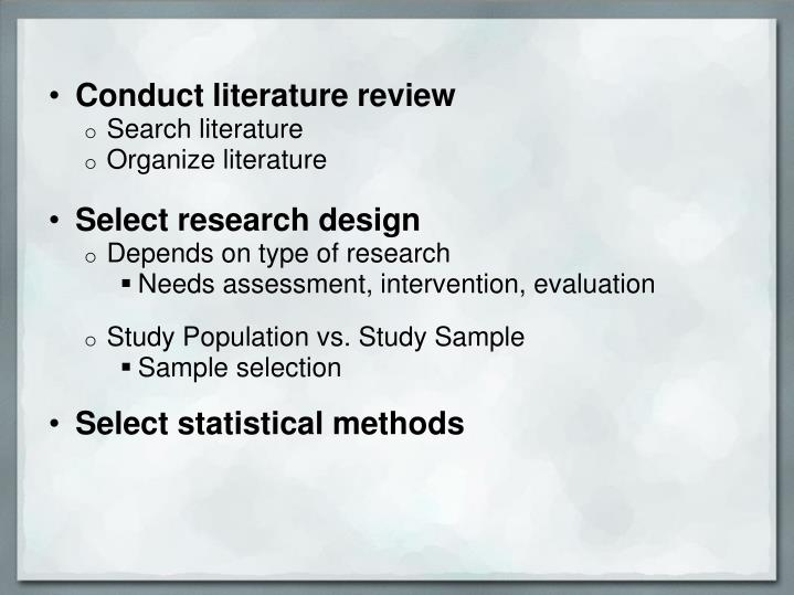 Conduct literature review