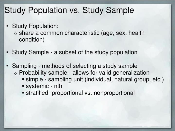 Study Population vs. Study Sample