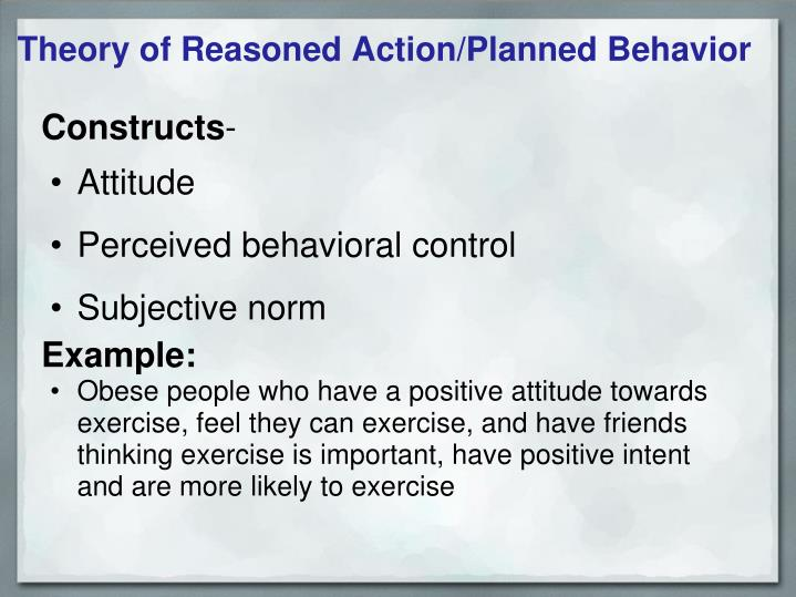 Theory of Reasoned Action/Planned Behavior