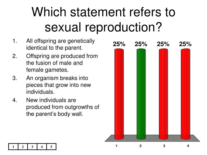 Which statement refers to sexual reproduction?