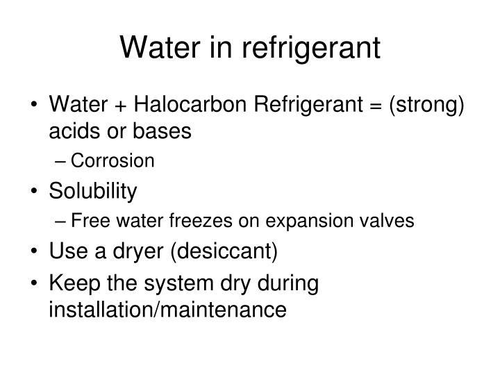 Water in refrigerant