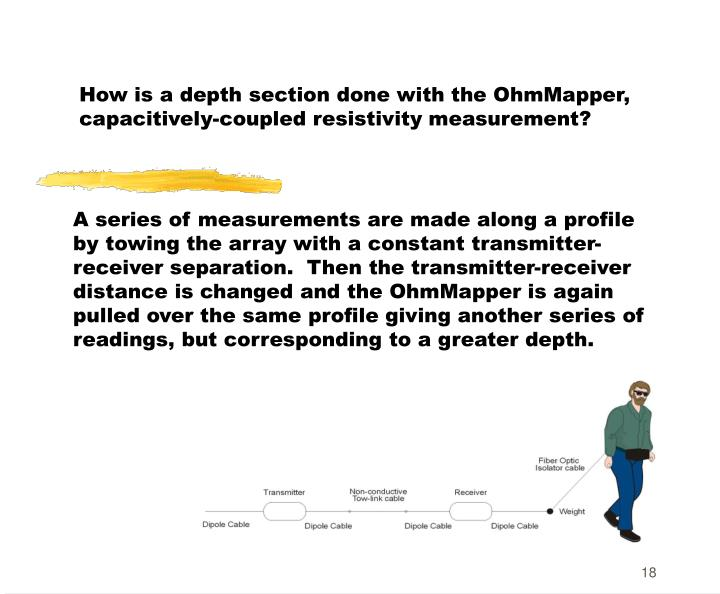 How is a depth section done with the OhmMapper, capacitively-coupled resistivity measurement?