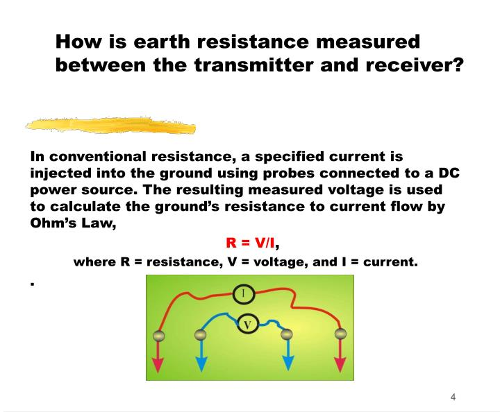 How is earth resistance measured between the transmitter and receiver?