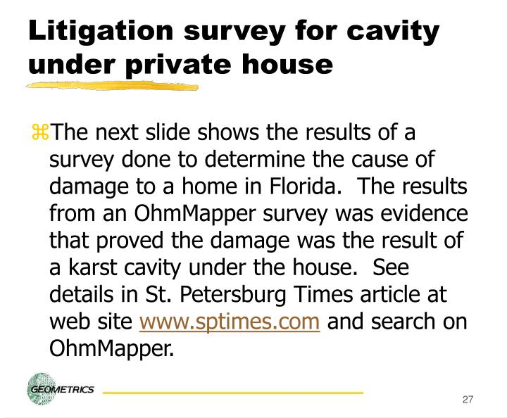 Litigation survey for cavity under private house