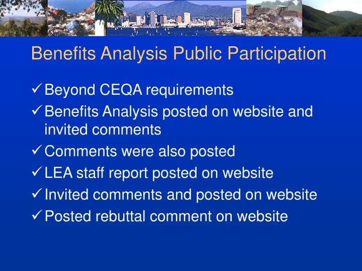 Benefits Analysis Public Participation