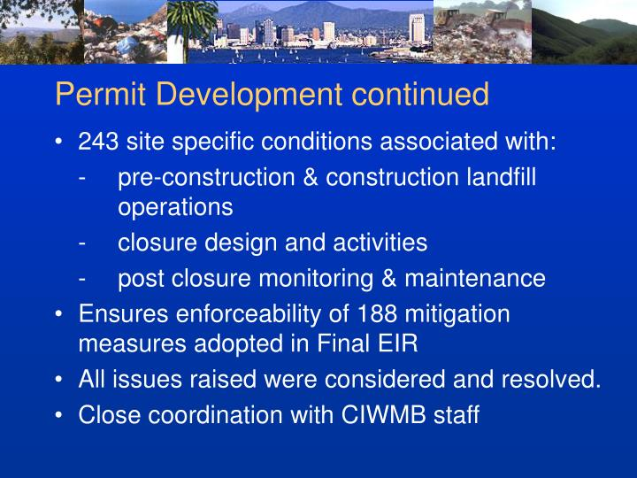 Permit Development continued
