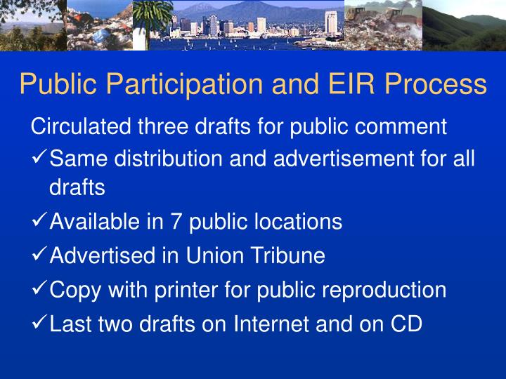 Public Participation and EIR Process