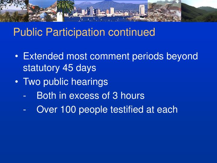 Public Participation continued
