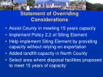statement of overriding considerations
