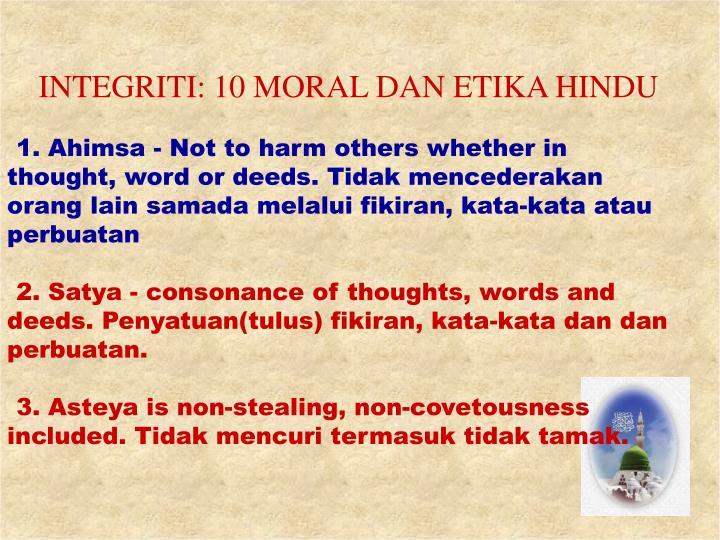 INTEGRITI: 10 MORAL DAN ETIKA HINDU