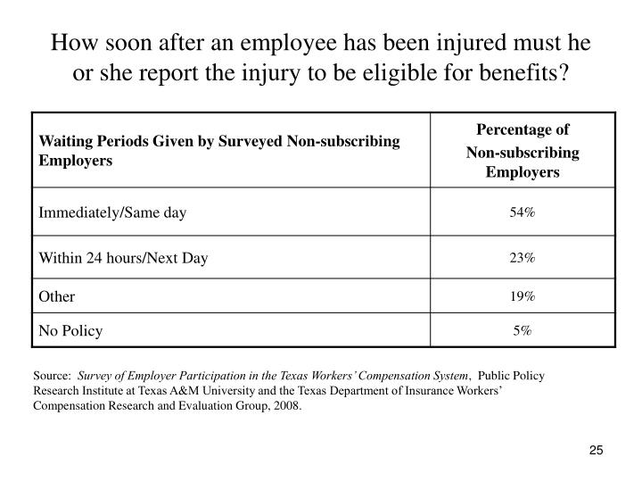 How soon after an employee has been injured must he or she report the injury to be eligible for benefits?