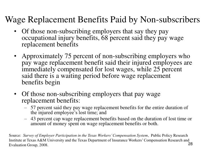 Wage Replacement Benefits Paid by Non-subscribers