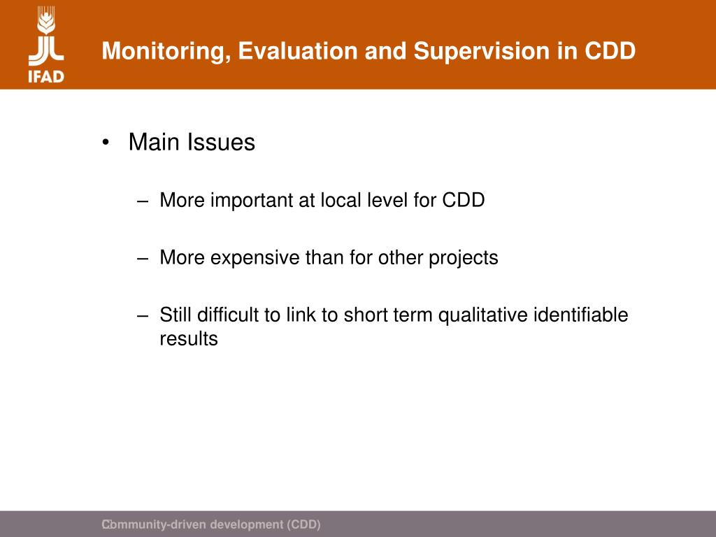 Monitoring, Evaluation and Supervision in CDD