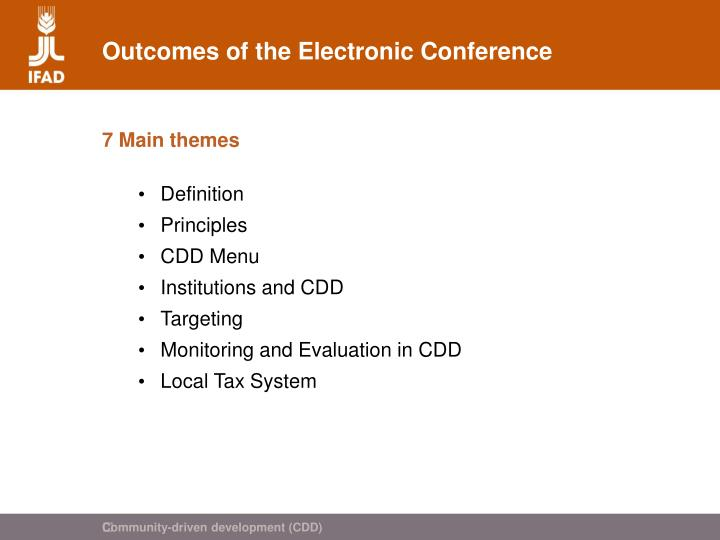 Outcomes of the electronic conference
