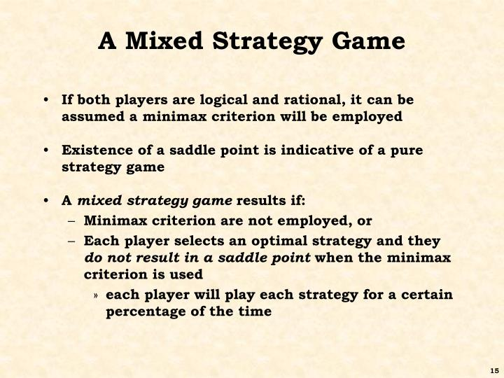 A Mixed Strategy Game