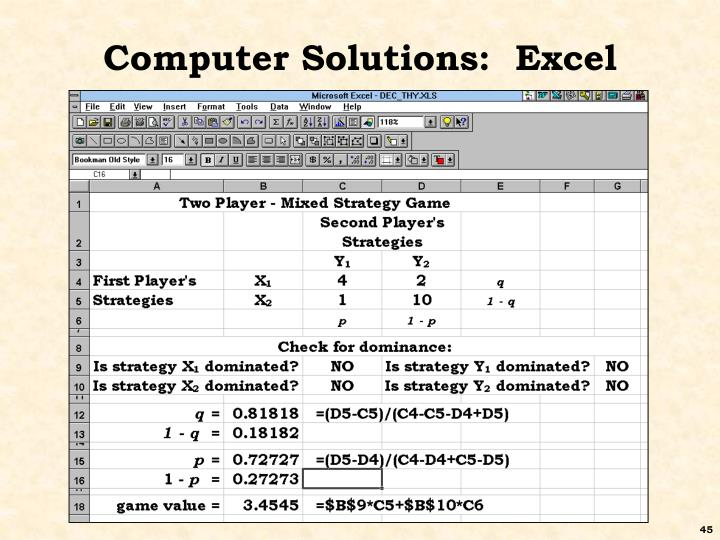 Computer Solutions:  Excel
