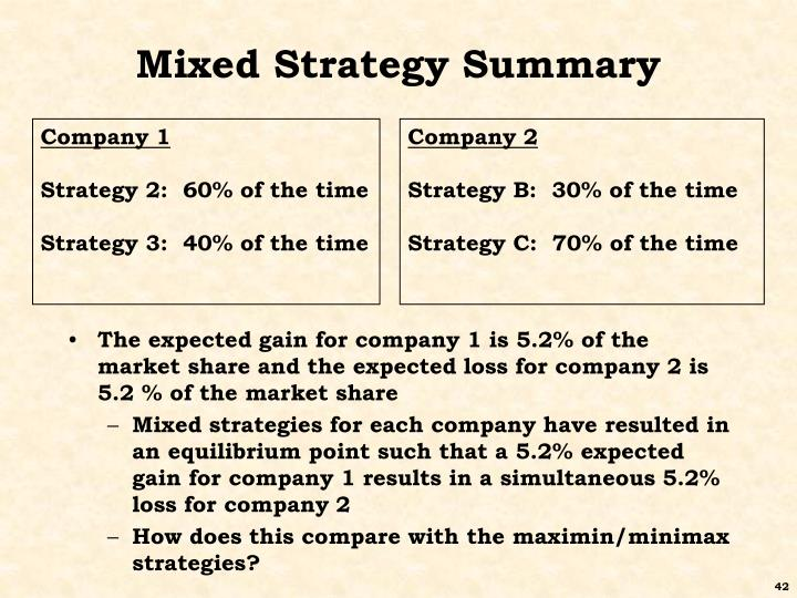 Mixed Strategy Summary