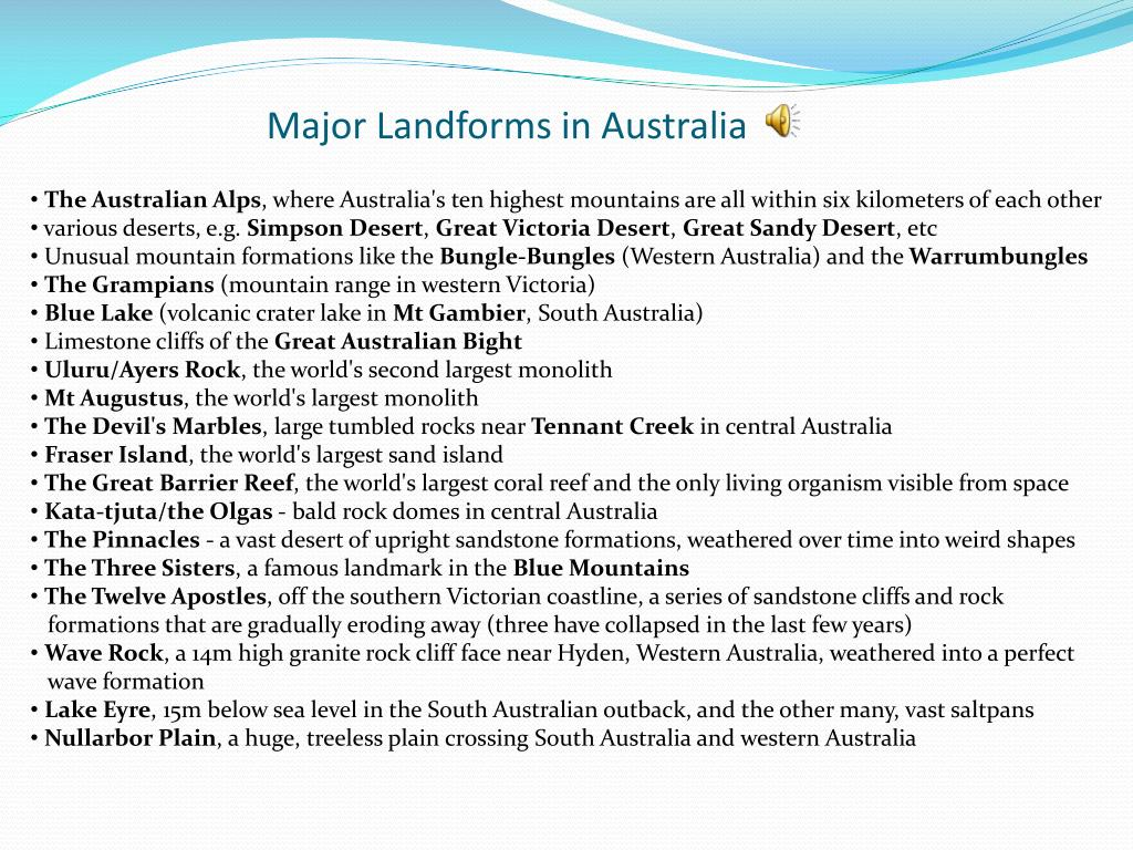 Major Landforms in Australia