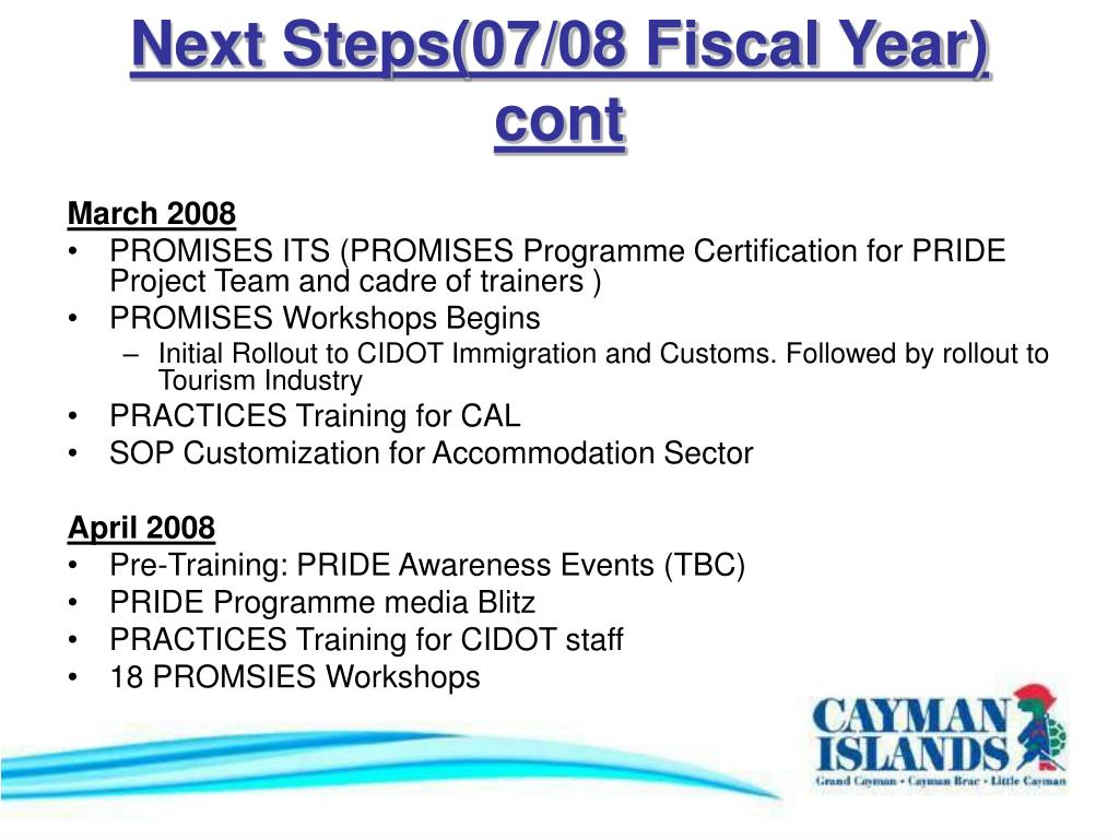 Next Steps(07/08 Fiscal Year) cont