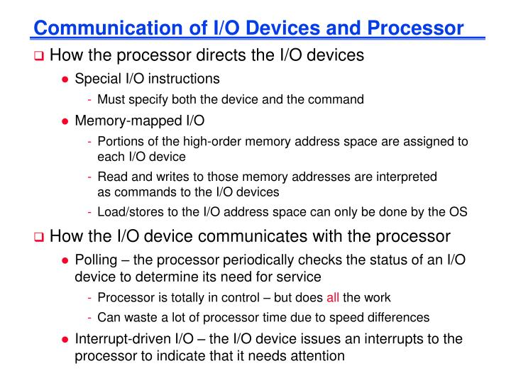 Communication of I/O Devices and Processor