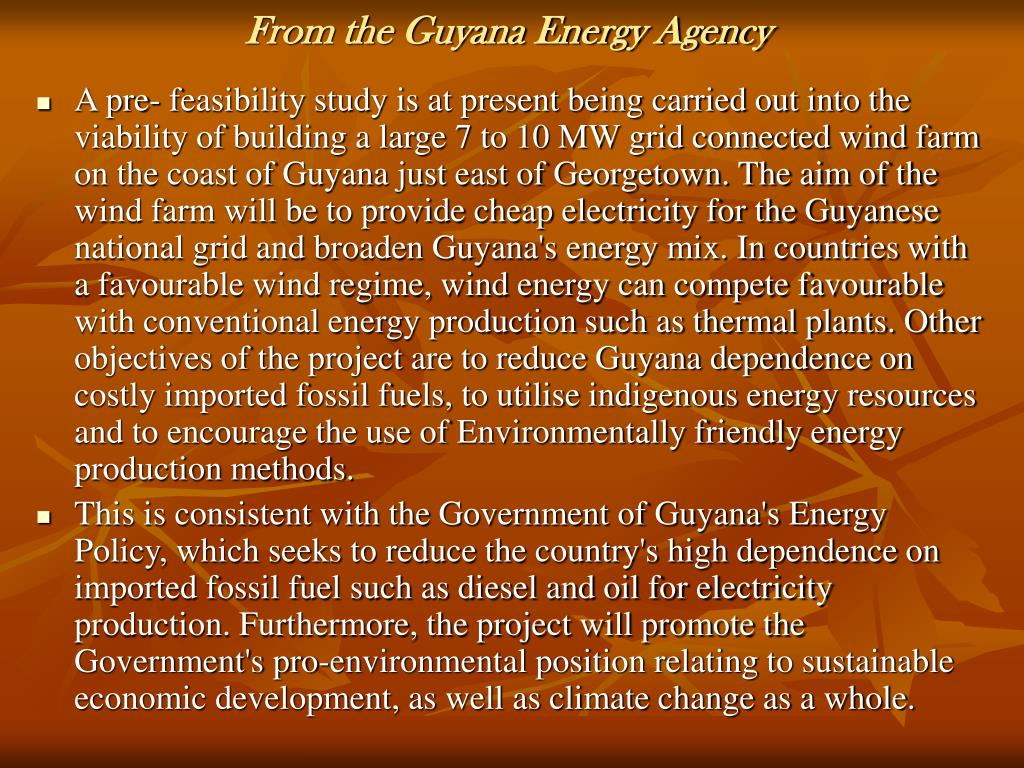 From the Guyana Energy Agency