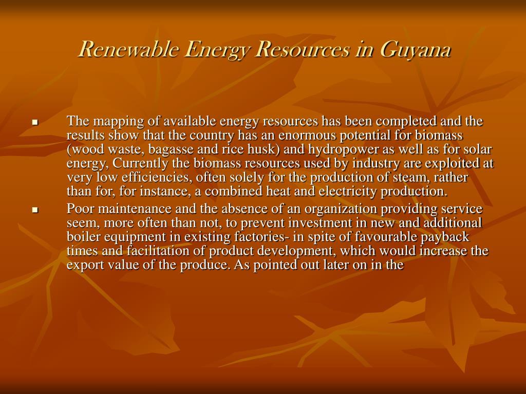 Renewable Energy Resources in Guyana