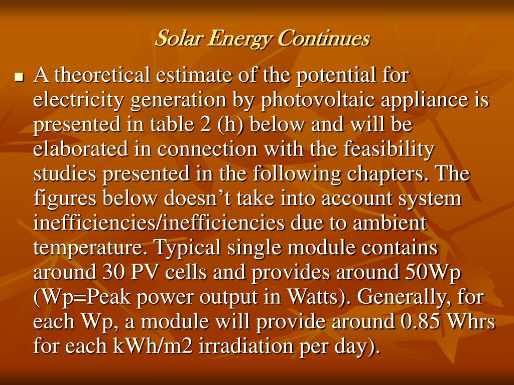 Solar Energy Continues