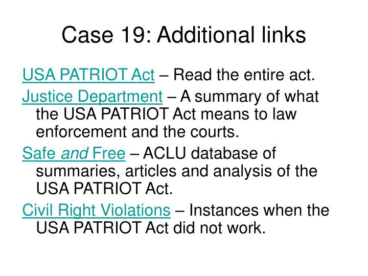 Case 19: Additional links