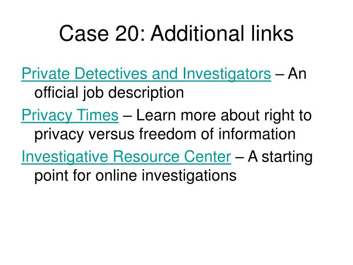 Case 20: Additional links