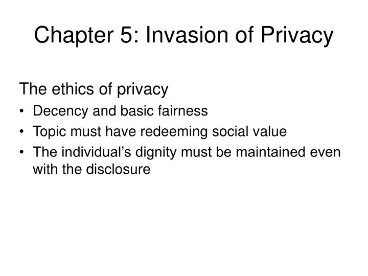 Chapter 5: Invasion of Privacy