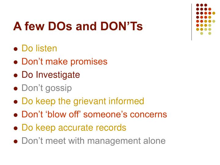 A few DOs and DON'Ts