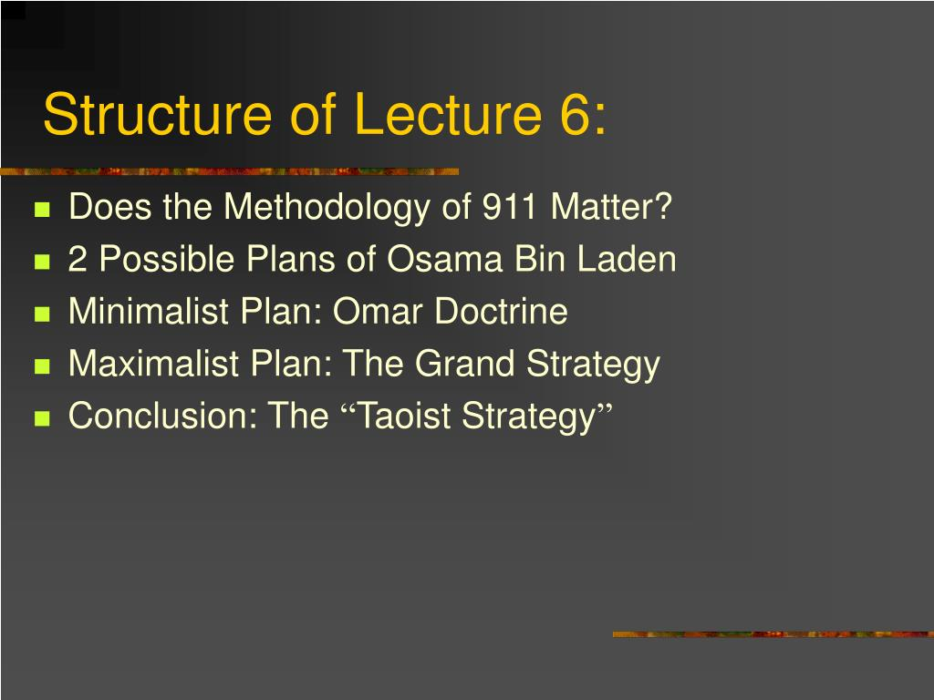 Structure of Lecture 6: