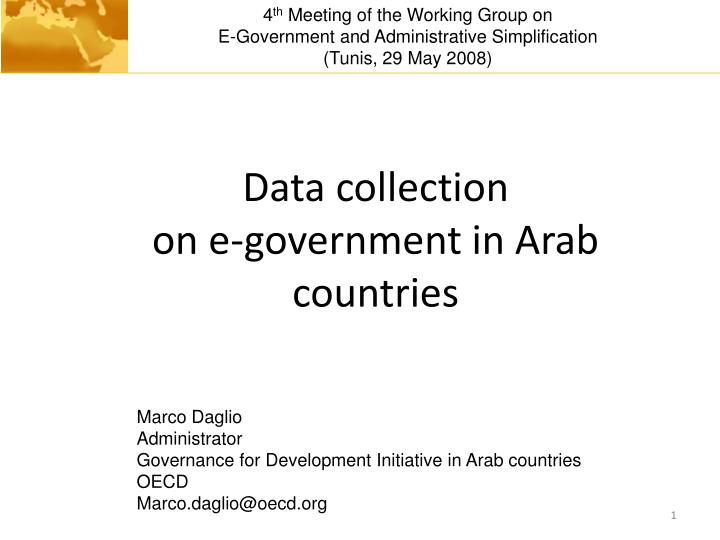 Data collection on e government in arab countries