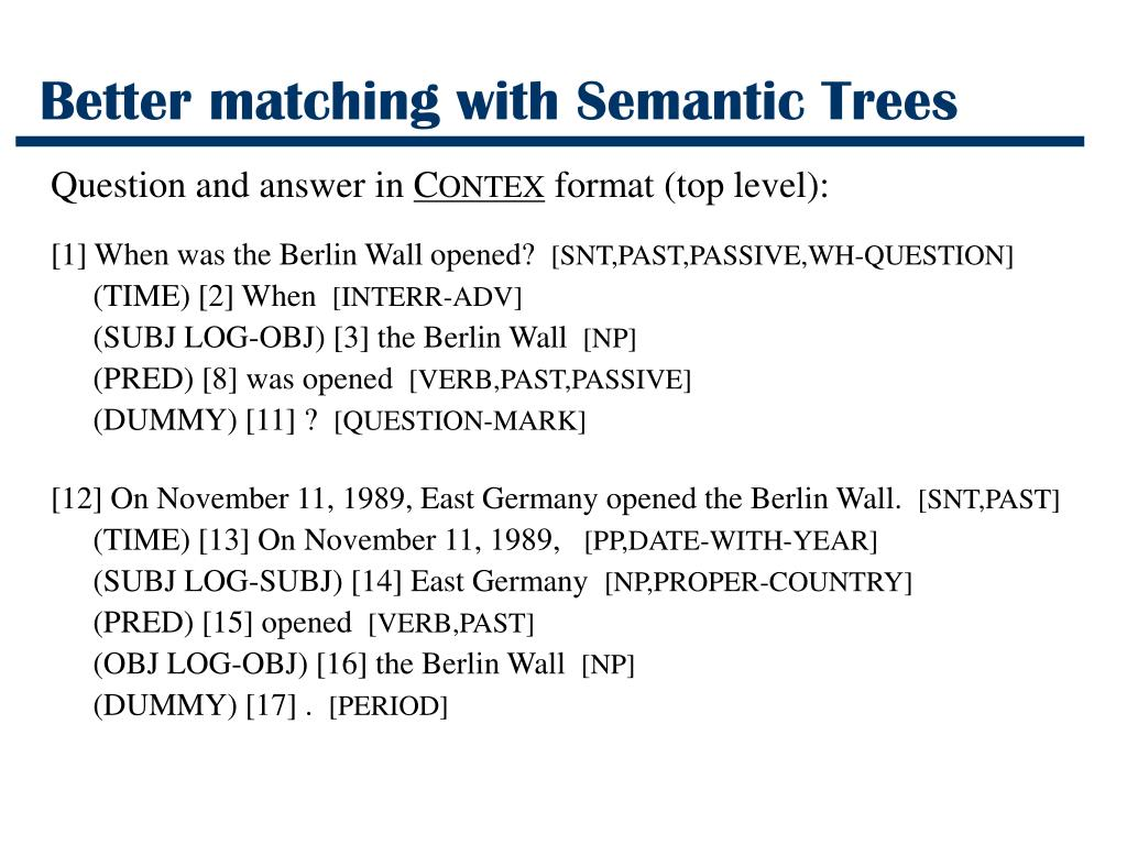 Better matching with Semantic Trees
