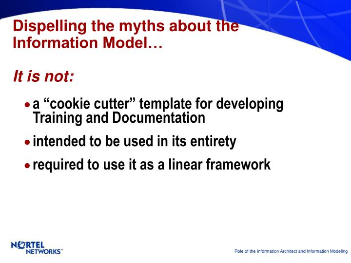 Dispelling the myths about the Information Model…