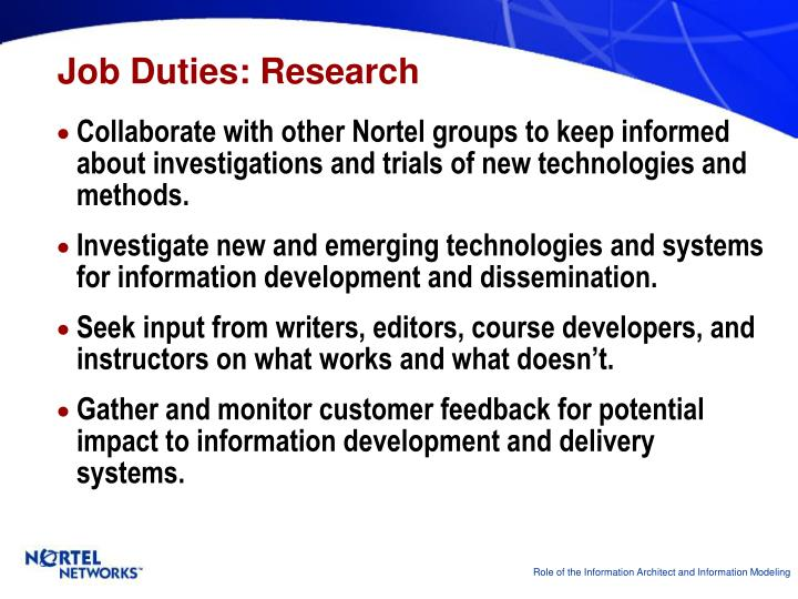 Job Duties: Research