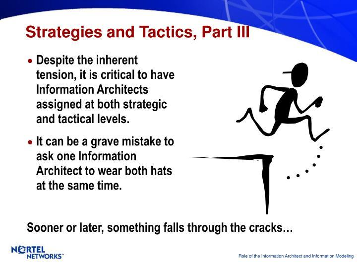 Strategies and Tactics, Part III
