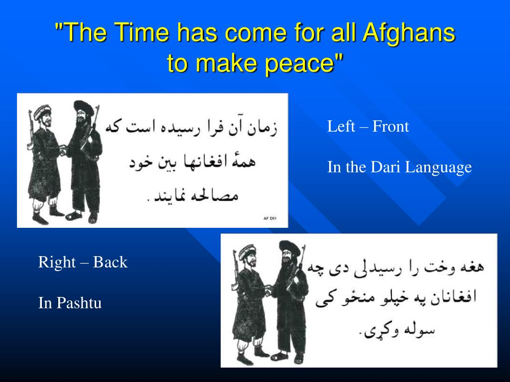 """The Time has come for all Afghans to make peace"""